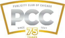 The Publicity Club of Chicago's current brand logo, which was created by CBD Marketing as part of a pro bono project.