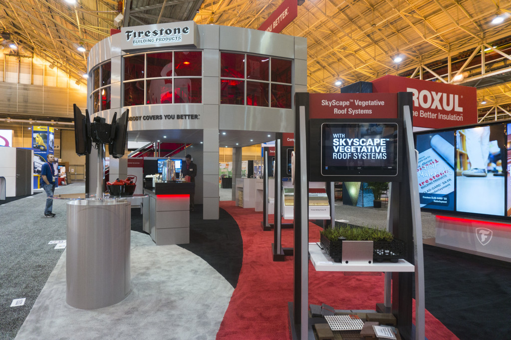 The Firestone Building Products booth used for large B2B trade shows involving product launches, announcements and more.
