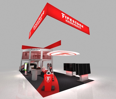A 3D digital scale model of a trade show booth developed for Firestone Building Products by CBD Marketing.