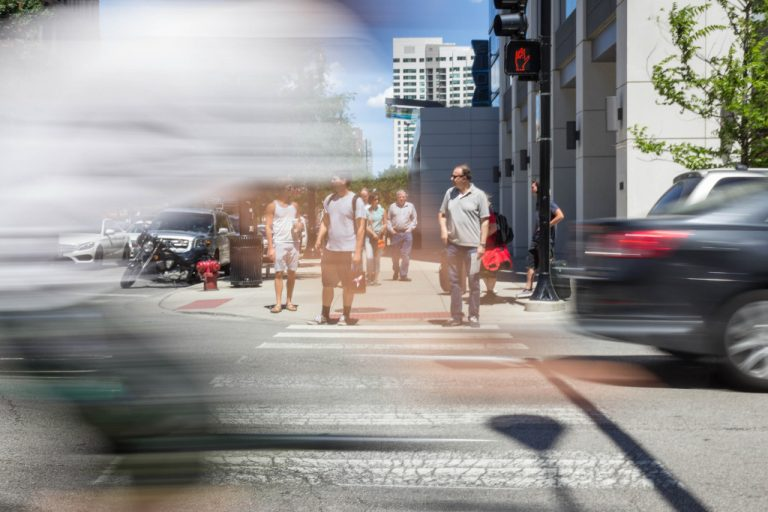 A photo of a downtown Chicago crosswalk taken by Don Harder, Associate Creative Director at CBD Marketing.