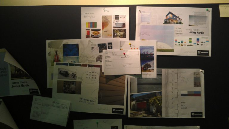 Don Harder's creative process starts with pinning up creative research and images on a bulletin board.