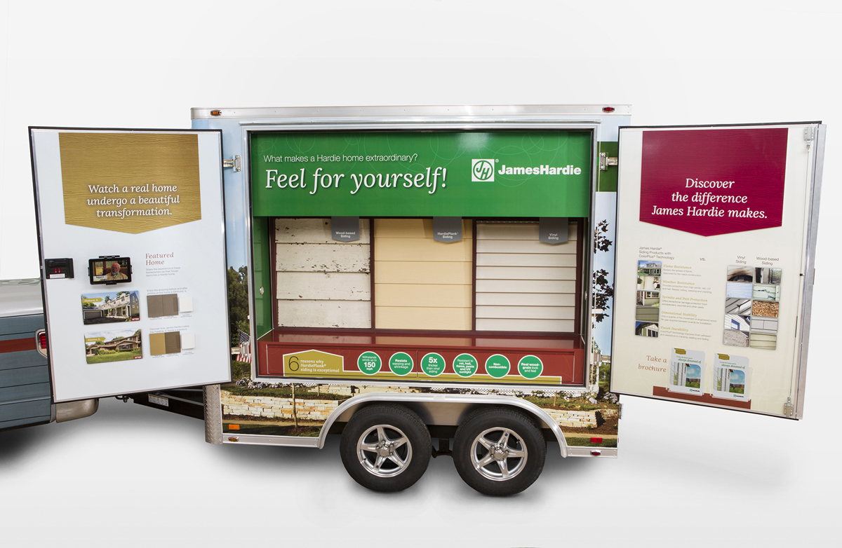 The James Hardie Mobile Showroom shown up close with open doors. This initiative was developed by CBD Marketing.