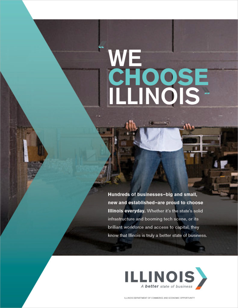 "A print ad CBD Marketing created for Illinois DCEO. The headline reads: ""We Choose Illinois."""