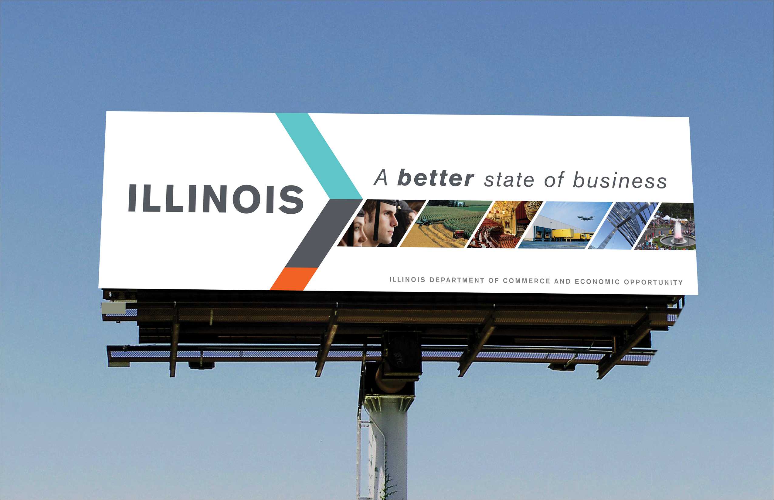 "A billboard ad CBD Marketing created for Illinois DCEO. The tagline reads: ""A better state of business."""