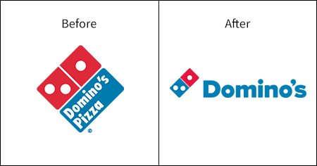 A comparative image of the Domino's logo and branding and how it has evolved over time.