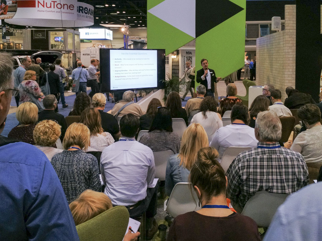 An educational stage at IBS/KBIS 2017. This B2B trade show is a popular event for builders and kitchen and bath designers.