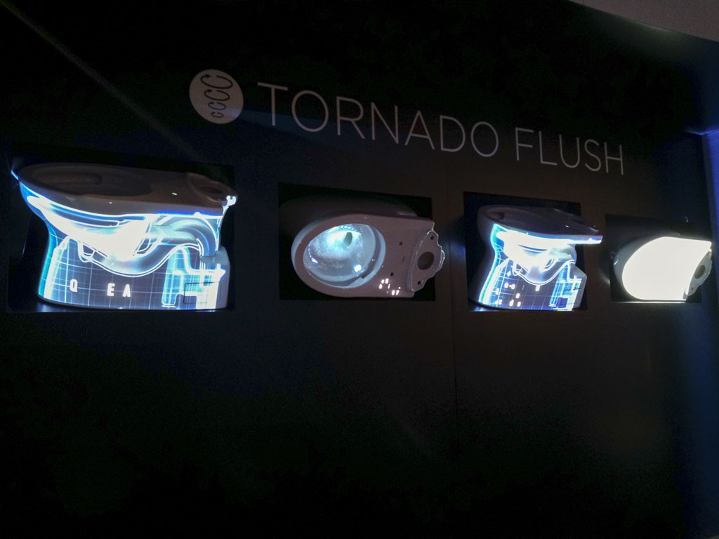 A Tornado Flush booth display at IBS/KBIS 2017. At this B2B trade show, brands showcase products using advanced technology.