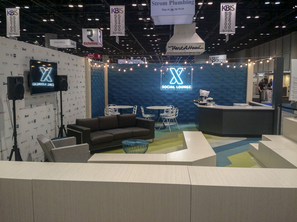 A social lounge at IBS/KBIS 2017. This B2B trade show offers businesses the opportunity to meet and socialize with prospects.