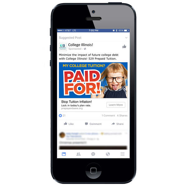CBD developed Facebook ads that helped reach a large volume of College Illinois! prospects. One of the ads is shown here on a mobile device.