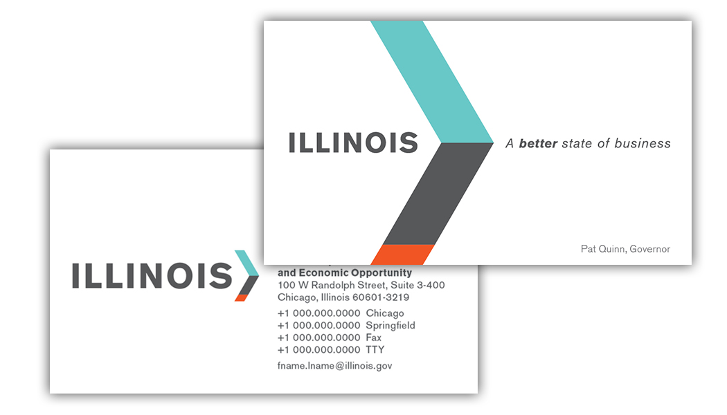 "Branded business cards that CBD Marketing developed for Illinois DCEO. The tagline reads: ""A better state of business."""