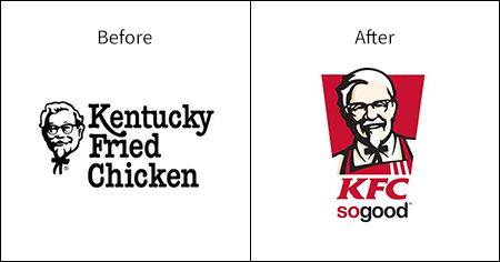 A comparative image of the Kentucky Fried Chicken (KFC) logo and branding and how it has evolved over time.