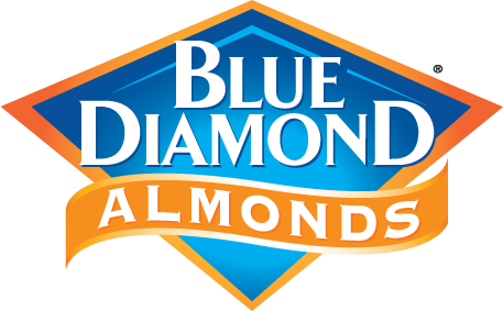 The Blue Diamond Almonds logo. Blue Diamond is a California agricultural cooperative organization that specializes in almonds.