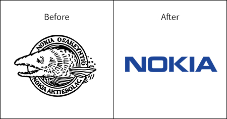 A comparative image of the Nokia logo and branding and how it has evolved over time.