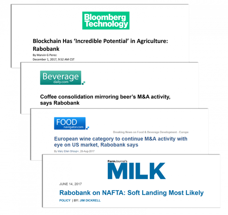CBD has increased exposure for Rabobank NA in several ways, including making headlines across several major news and media platforms, shown here.