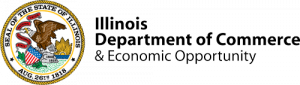 The Illinois DCEO logo. Illinois DCEO is the code department of the Illinois state government that sponsors economic development.