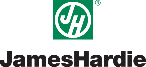 The James Hardie brand logo. James Hardie is the world leader in fiber cement siding and backerboard.