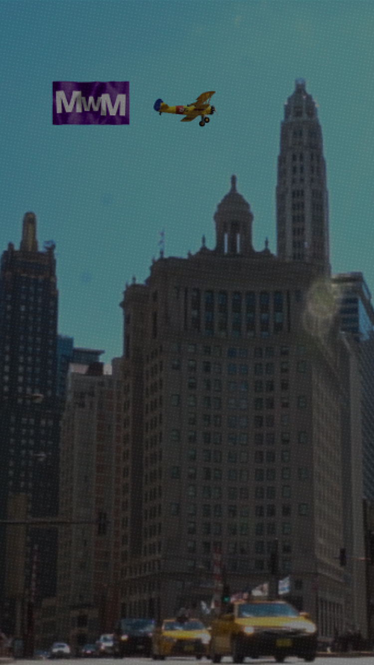 A background image of a plane flying over downtown Chicago, which is used on the homepage of the CBD Marketing website.