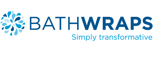 "The Bathwraps logo and tagline which reads: ""Simply transformative."" Bathwraps manufactures custom showers and bathtubs."