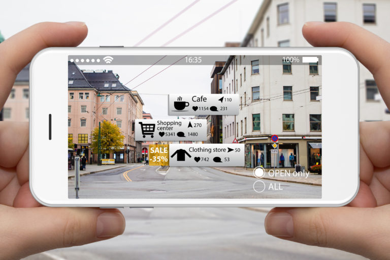 Augmented reality, shown here, is one of this year's most popular digital marketing trends.
