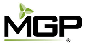 The MGP Ingredients logo. MGP is a producer and supplier of distilled spirits, wheat protein and starch food ingredients.