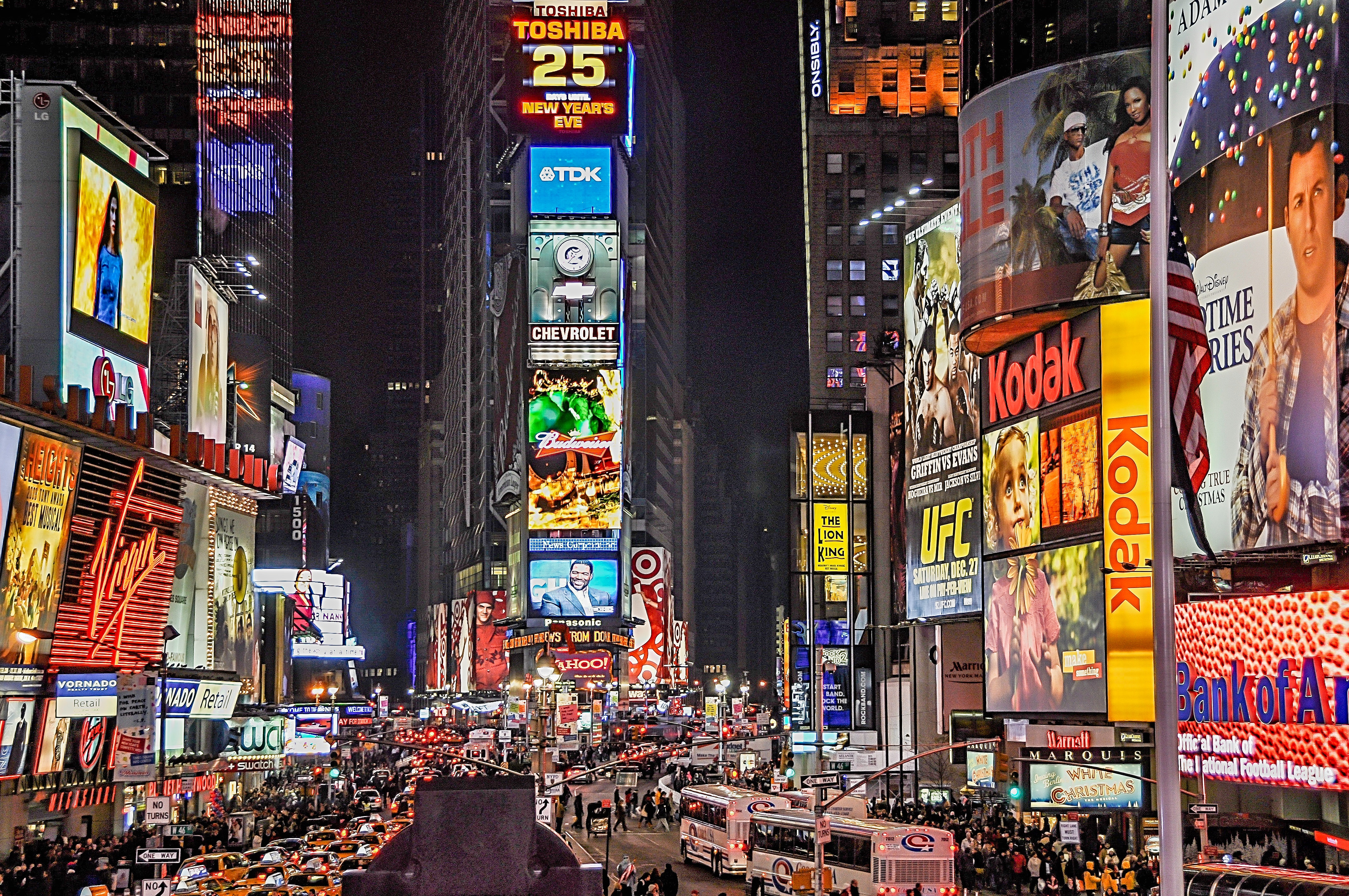 """Cluttered media environments like Times Square, shown here, help explain why the """"aha!"""" moment is a common goal for creatives."""