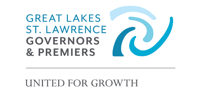 "The logo for the Great Lakes and St. Lawrence Governors and Premiers, with a brand tagline that reads: ""United for Growth."""