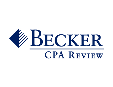 The logo for Becker CPA Review, a higher education service offered by Becker Professional Education.