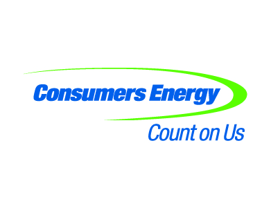 """The Consumers Energy logo, with a tagline that reads, """"count on us."""""""