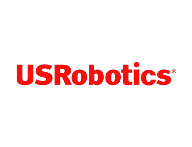 The logo for USRobotics, a technology company.
