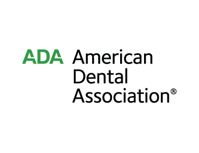 The American Dental Association (ADA) logo. The ADA is the largest dental association in the U.S.