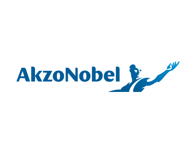 The logo for AkzoNobel, a manufacturing company.