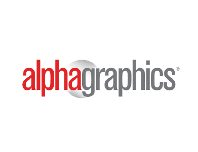 The logo for alphagraphics, a professional services organization.