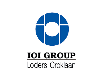The logo for IOI Group, a a leading global integrated palm oil player in the food industry.