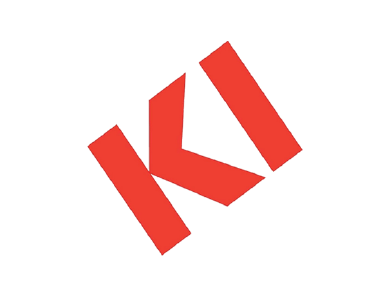 The logo for KI Furniture, a manufacturing company. KI manufactures innovative furniture and movable wall system solutions for education, healthcare, government and corporate markets.
