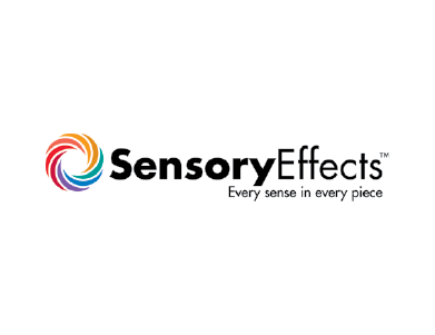 "The logo for SensoryEffects, a food and beverage ingredients manufacturer for the health and nutrition, beverages, desserts and bakery markets and more. The tagline reads: ""Every sense in every piece."""