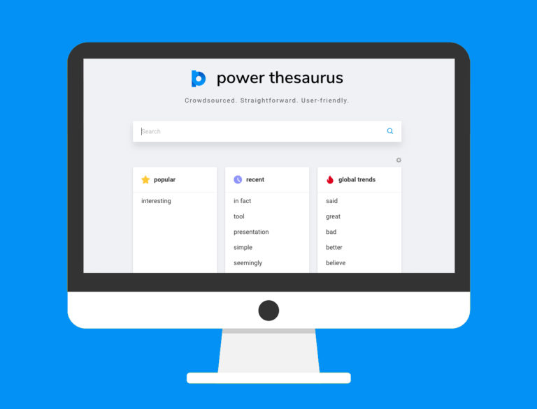 A desktop computer with the Power Thesaurus homepage featured on the screen. Power Thesaurus is a helpful tool for stronger business writing.