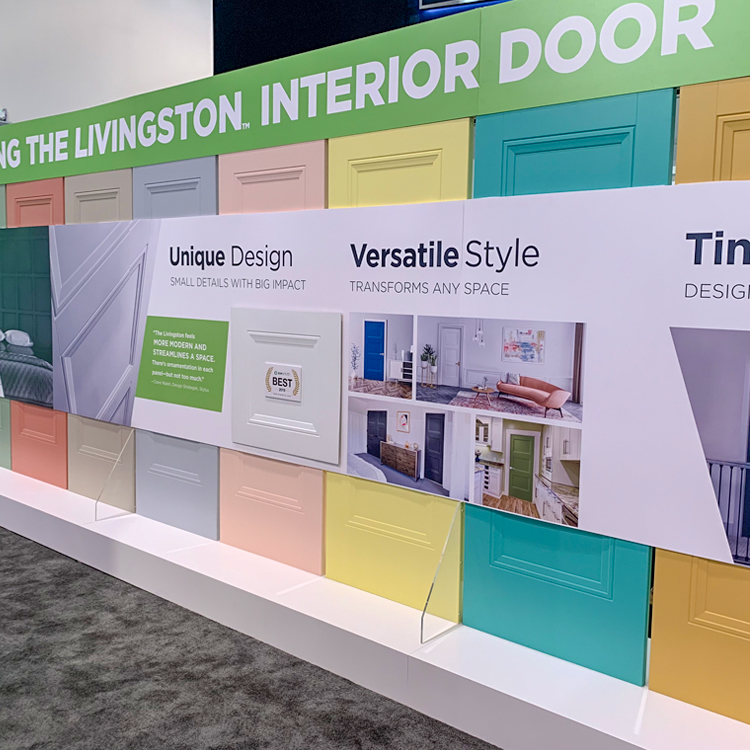 Masonite Doors, shown here, are just one example of color taking center stage at IBS/KBIS 2019.