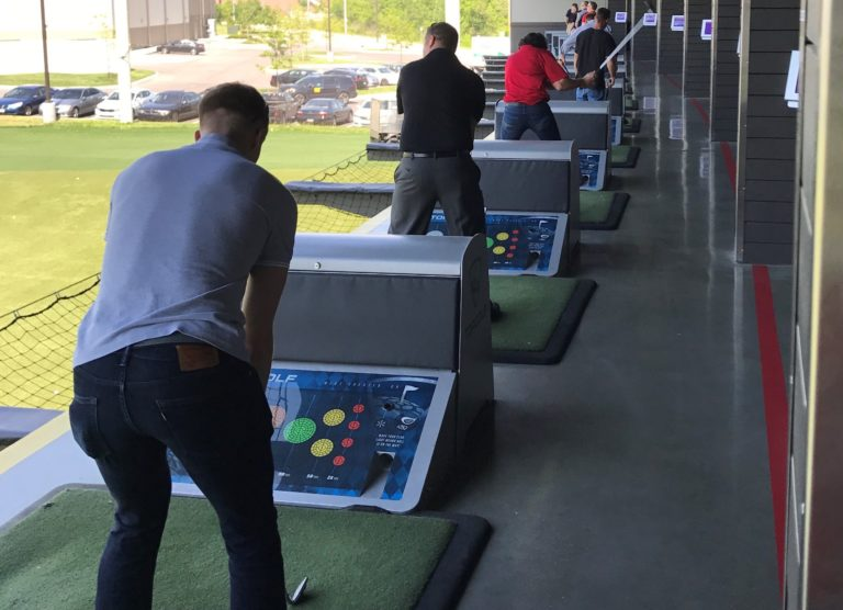 A driving range, like the one shown here, can provide excellent audience engagement during your next demo event.